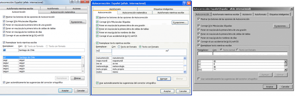 Autocompletar en Word de distintas versiones