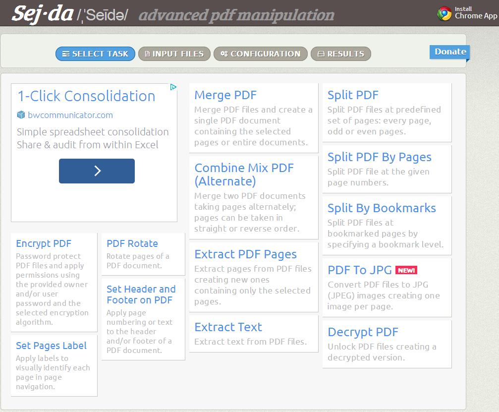 Captura de pantalla de Sejda.com