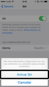 Cuarto paso, acepta el hecho que ocuparás internet para utilizar Siri