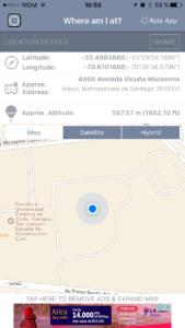Pantalla de la aplicación whereamIAt